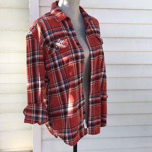 oversized lumberjack cute red cotton flannel shirt